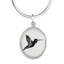 Hummingbird silhouette Silver Oval Necklace