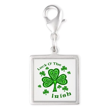 Irish Luck Shamrocks Silver Square Charm