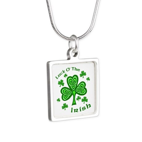 Irish Luck Shamrocks Silver Square Necklace