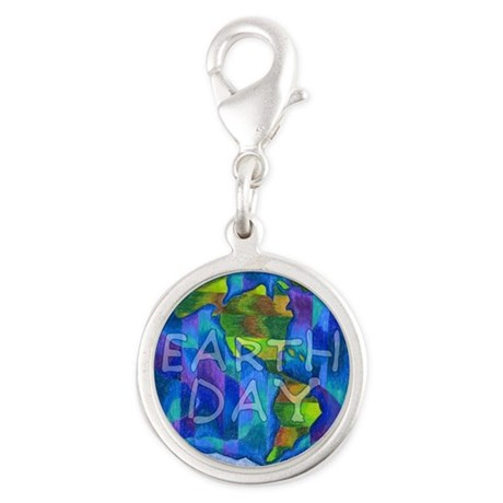 Earth Day Planet Silver Round Charm