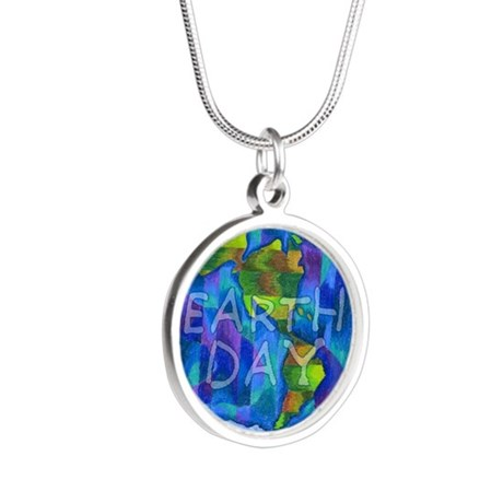 Earth Day Planet Silver Round Necklace