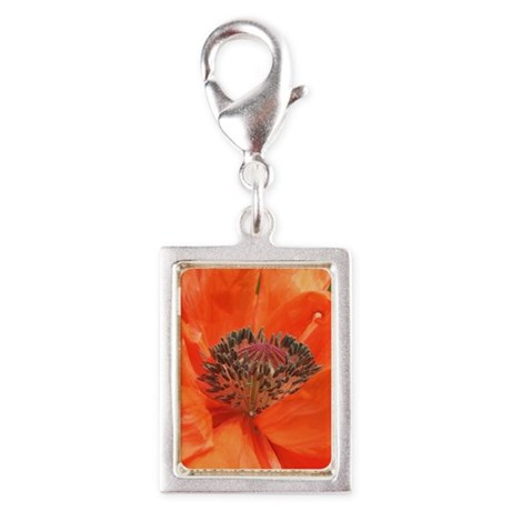 Orange Icelandic Poppy Silver Portrait Charm