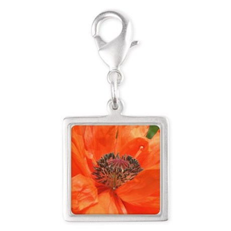 Orange Icelandic Poppy Silver Square Charm
