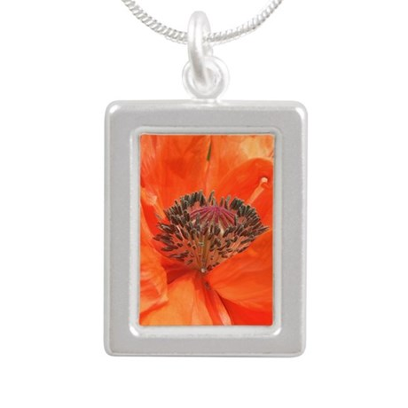 Orange Icelandic Poppy Silver Portrait Necklace
