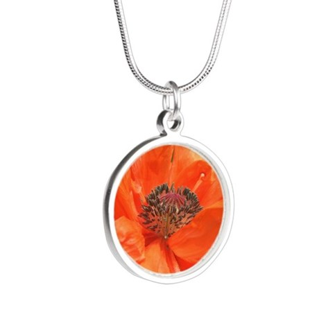 Orange Icelandic Poppy Silver Round Necklace