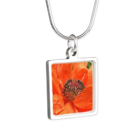 Orange Icelandic Poppy Silver Square Necklace