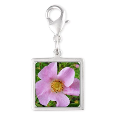 California Wild Rose Silver Square Charm