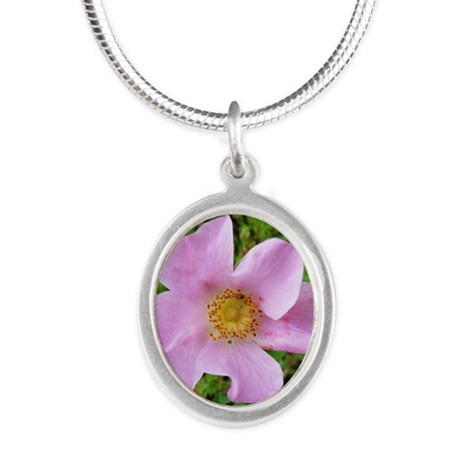 California Wild Rose Silver Oval Necklace