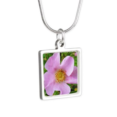 California Wild Rose Silver Square Necklace