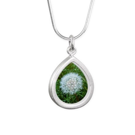 Dandelion Seed Head Silver Teardrop Necklace