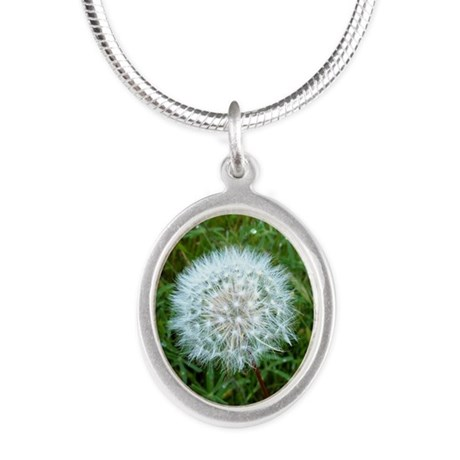 Dandelion Seed Head Silver Oval Necklace