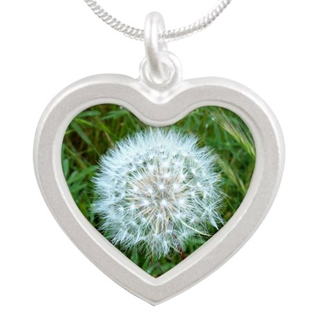Dandelion Seed Head Silver Heart Necklace