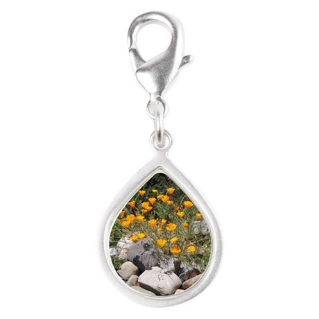 California Poppies Silver Teardrop Charm