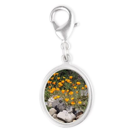 California Poppies Silver Oval Charm