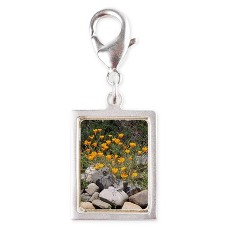 California Poppies Silver Portrait Charm