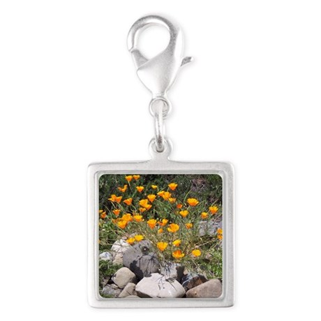California Poppies Silver Square Charm