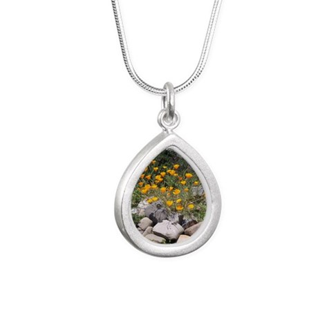 California Poppies Silver Teardrop Necklace
