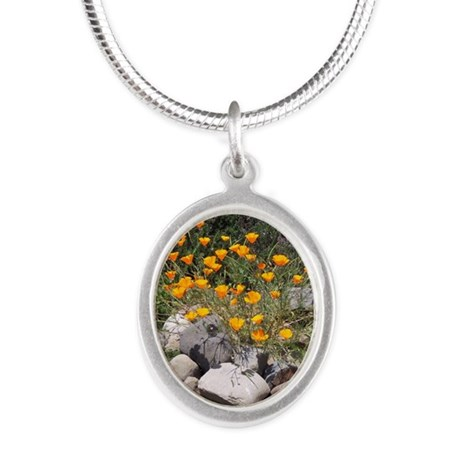 California Poppies Silver Oval Necklace