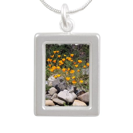 California Poppies Silver Portrait Necklace