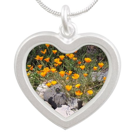 California Poppies Silver Heart Necklace