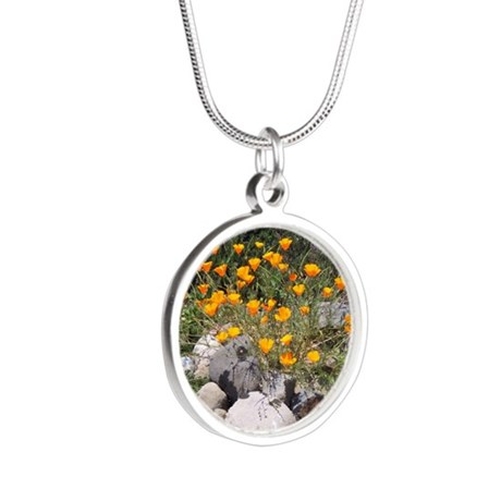 California Poppies Silver Round Necklace