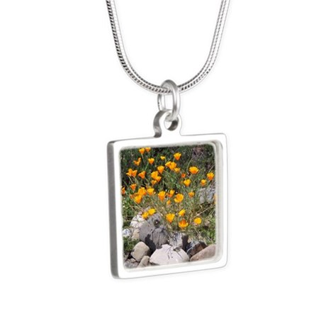 California Poppies Silver Square Necklace