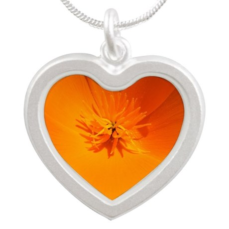 California Poppy Silver Heart Necklace