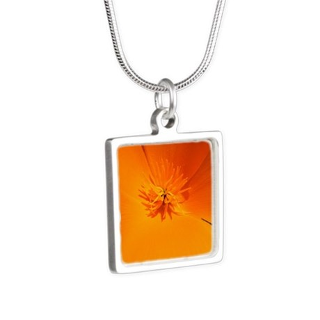 California Poppy Silver Square Necklace