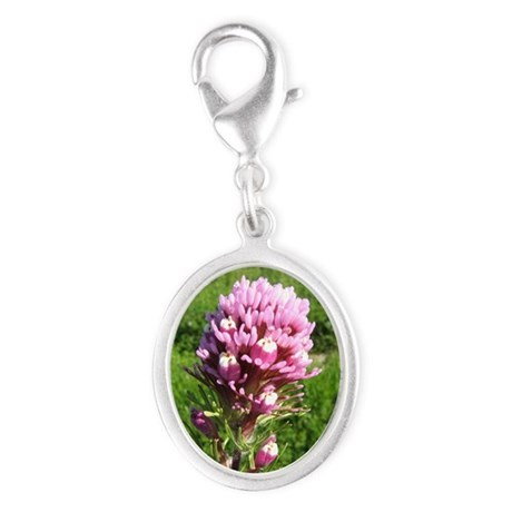 Purple Owls Clover Silver Oval Charm