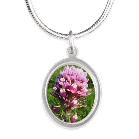Purple Owls Clover Silver Oval Necklace