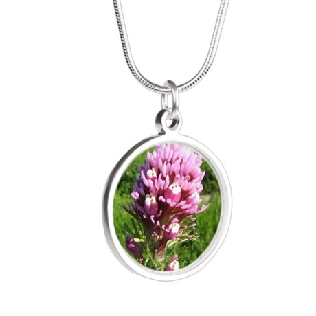 Purple Owls Clover Silver Round Necklace