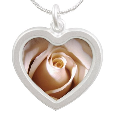 Ivory Rose Silver Heart Necklace