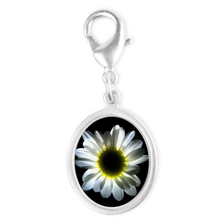Illuminated Daisy Silver Oval Charm