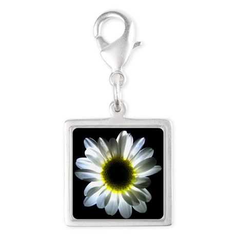 Illuminated Daisy Silver Square Charm