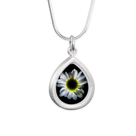 Illuminated Daisy Silver Teardrop Necklace