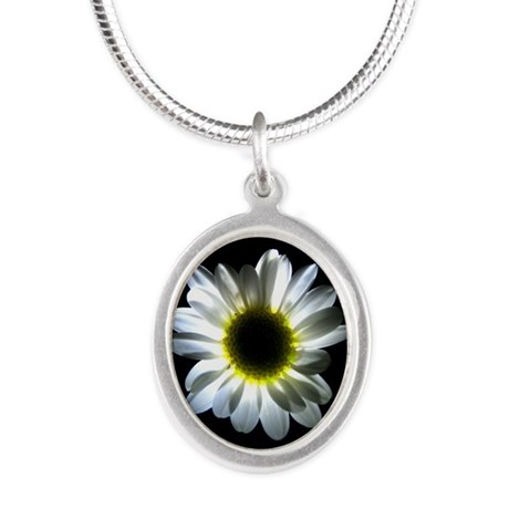 Illuminated Daisy Silver Oval Necklace