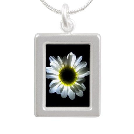 Illuminated Daisy Silver Portrait Necklace