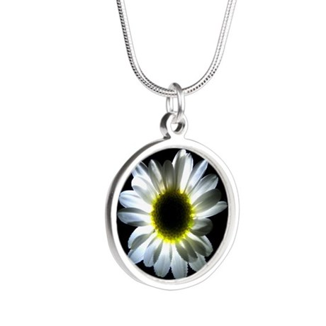 Illuminated Daisy Silver Round Necklace