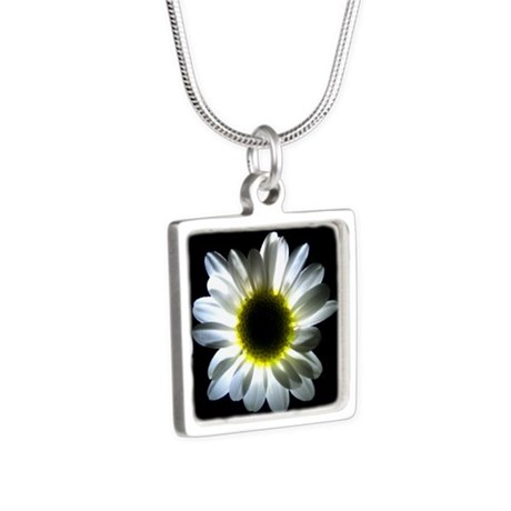Illuminated Daisy Silver Square Necklace