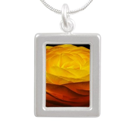 Yellow Ranunculus Silver Portrait Necklace