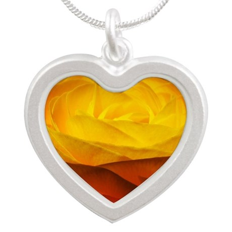 Yellow Ranunculus Silver Heart Necklace