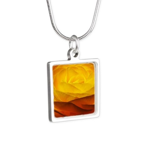 Yellow Ranunculus Silver Square Necklace
