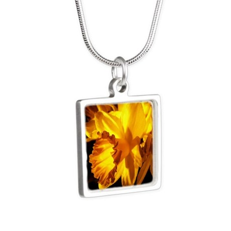 Illuminated Daffodil Silver Square Necklace