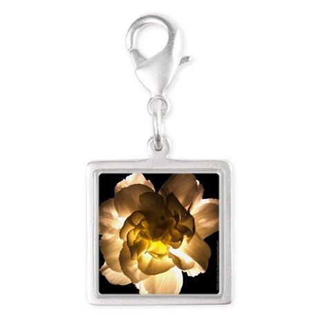 White Carnation Silver Square Charm