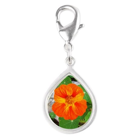 Orange Nasturtium Silver Teardrop Charm