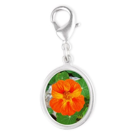 Orange Nasturtium Silver Oval Charm