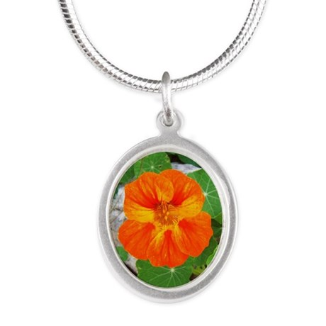 Orange Nasturtium Silver Oval Necklace