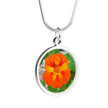 Orange Nasturtium Silver Round Necklace