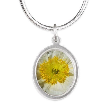 White Icelandic Poppy Silver Oval Necklace