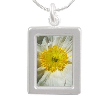 White Icelandic Poppy Silver Portrait Necklace